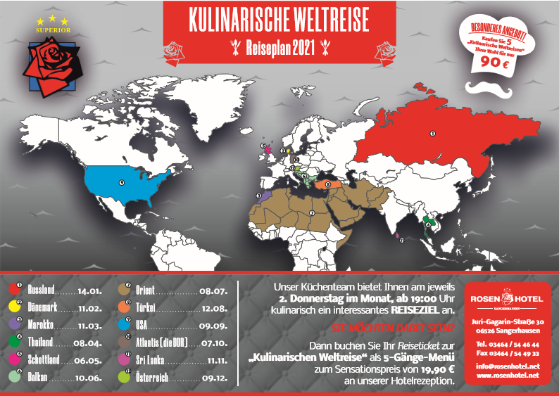 Kulinarische Weltreise Reiseplan 2021